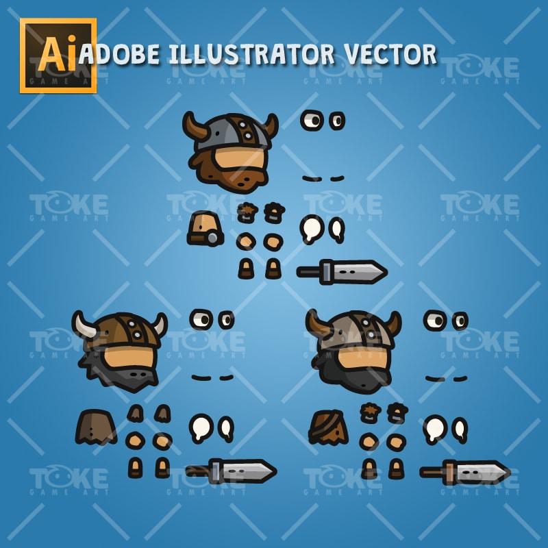 Tiny Viking - Tiny Style Character - Adobe Illustrator Vector Art Based
