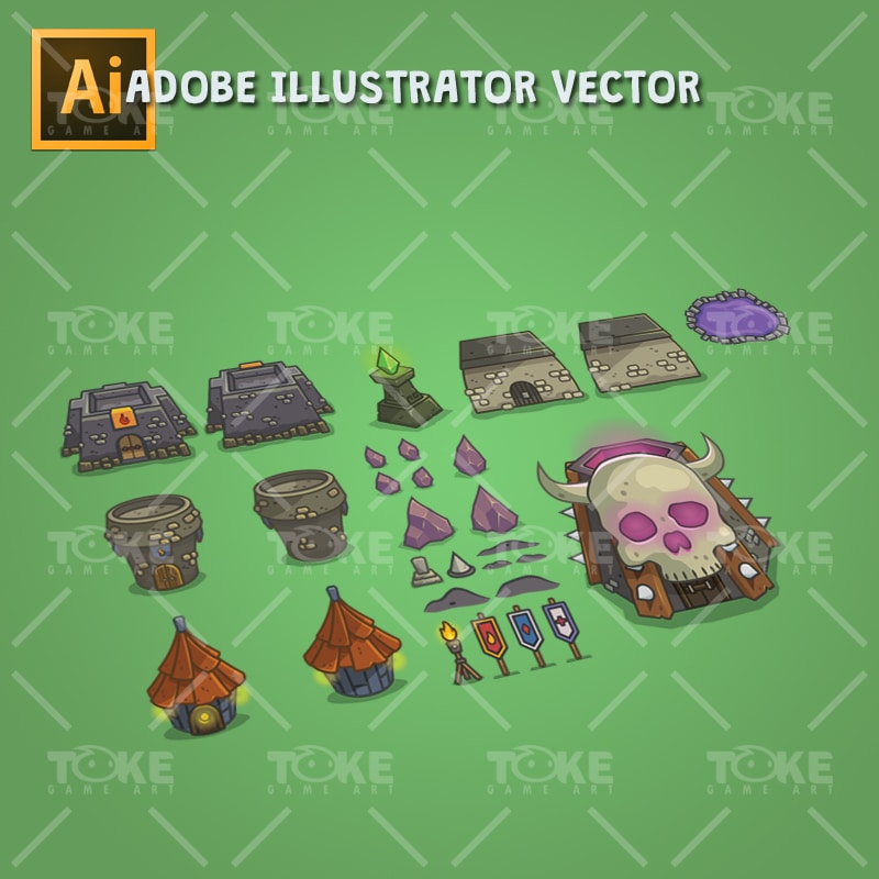 Dungeon Top-Down Game Platfromer - Adobe Illustrator Vector Art Based - Environment