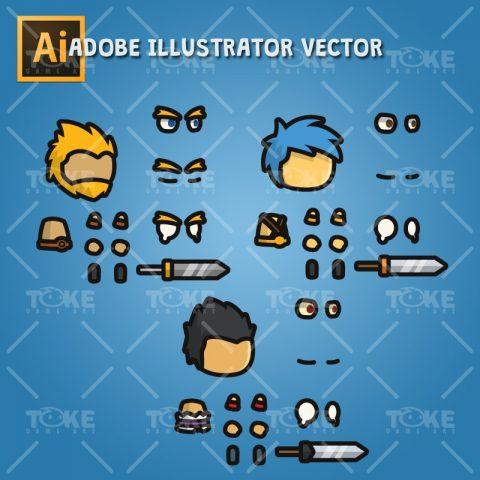 Warrior Tiny Style Character - Adobe Illustrator Vector Art Based