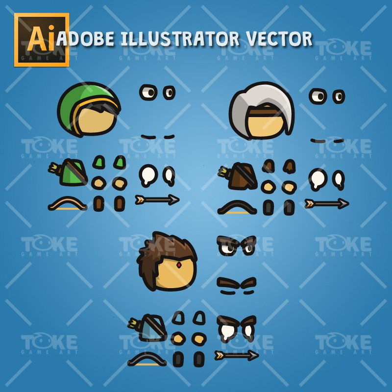 Archer Tiny Style Character - Adobe Illustrator Vector Art Based