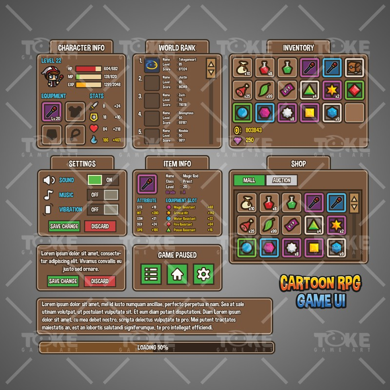 Cartoon RPG UI - Game Preview