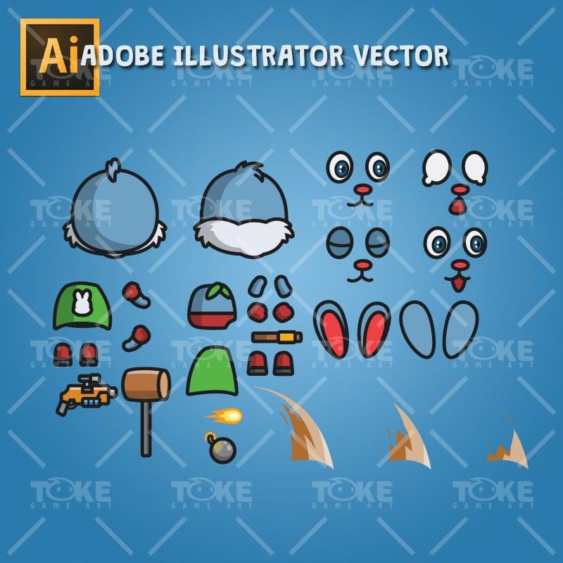 Super Bunny - Adobe Illustrator Vector Art Based