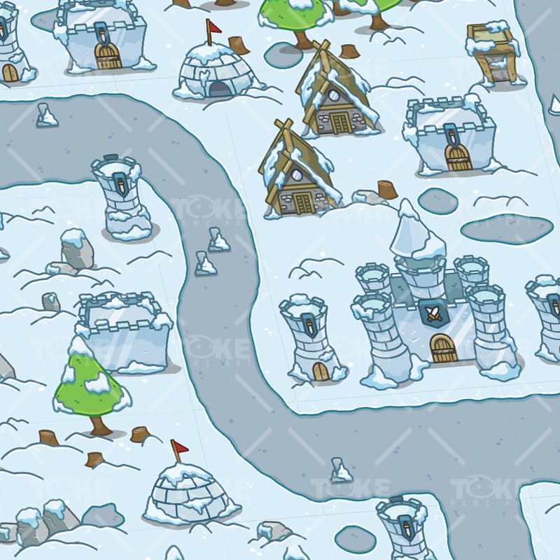Top-Down Snowy Tileset - 2D Tower Defense Game
