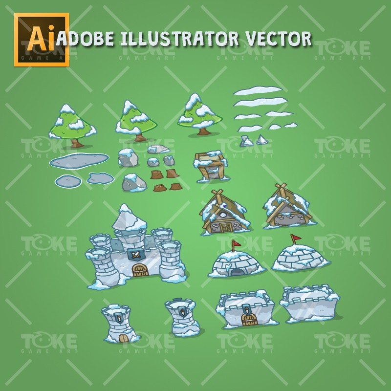 Top-Down Snowy Tileset - Adobe Illustrator Vector Art Based
