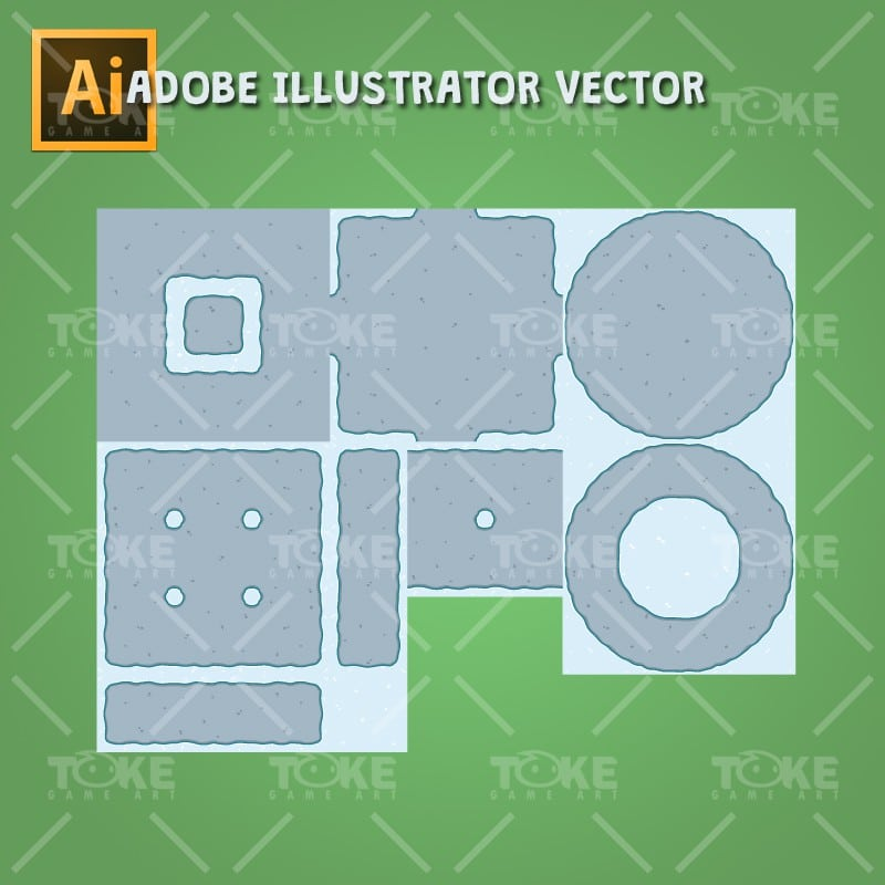 Top-Down Snowy Tileset - Tileable Ground - Adobe Illustrator Vector Art Based