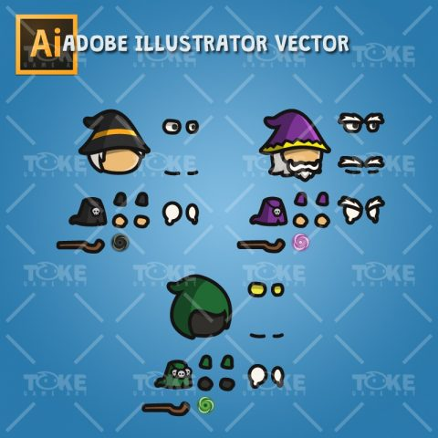 Wizard Tiny Style Character - Adobe Illustrator Vector Art Based
