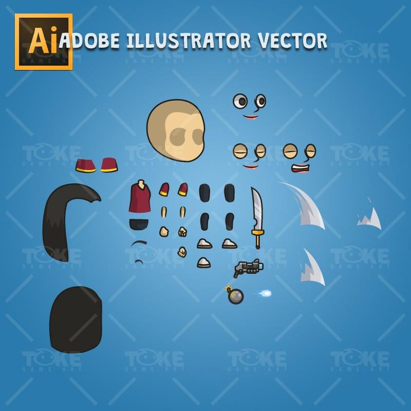 Hero Girl 02 - Adobe Illustrator Vector Art Based