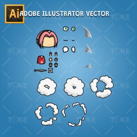 Shinobi 03 - (Sakura Harno) - Adobe Illustrator Vector Art Based