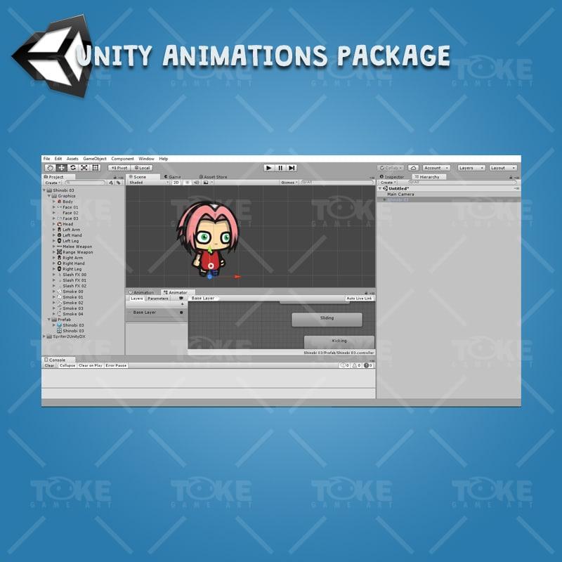 Shinobi 03 - (Sakura Harno) - Unity Animation Ready