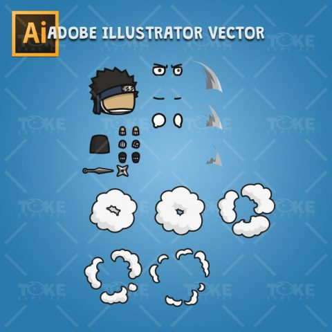 Shinobi 05 - Zabuza - Evil Masked Shinobi - Adobe Illustrator Vector Art Based