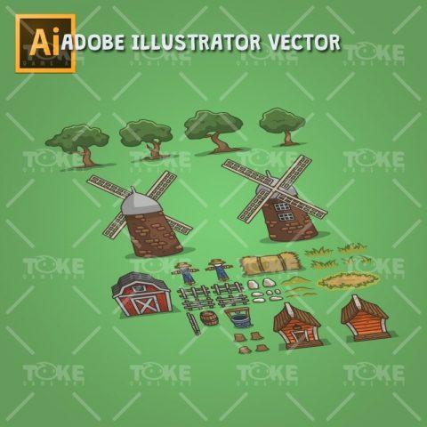 Old Abandoned Farm - Game Objects - Adobe Illustrator Vector Art Based