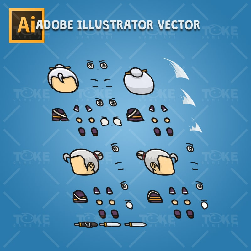 Swordmaster - 4 Directional 2D Character Sprite - Adobe Illustrator Vector Art Based