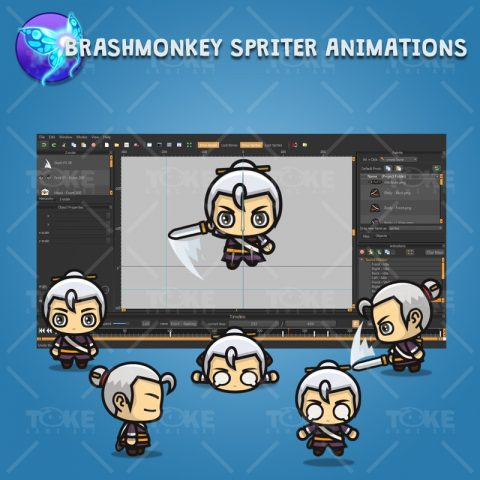 Swordmaster - 4 Directional 2D Character Sprite - Brashmonkey Spriter Animation