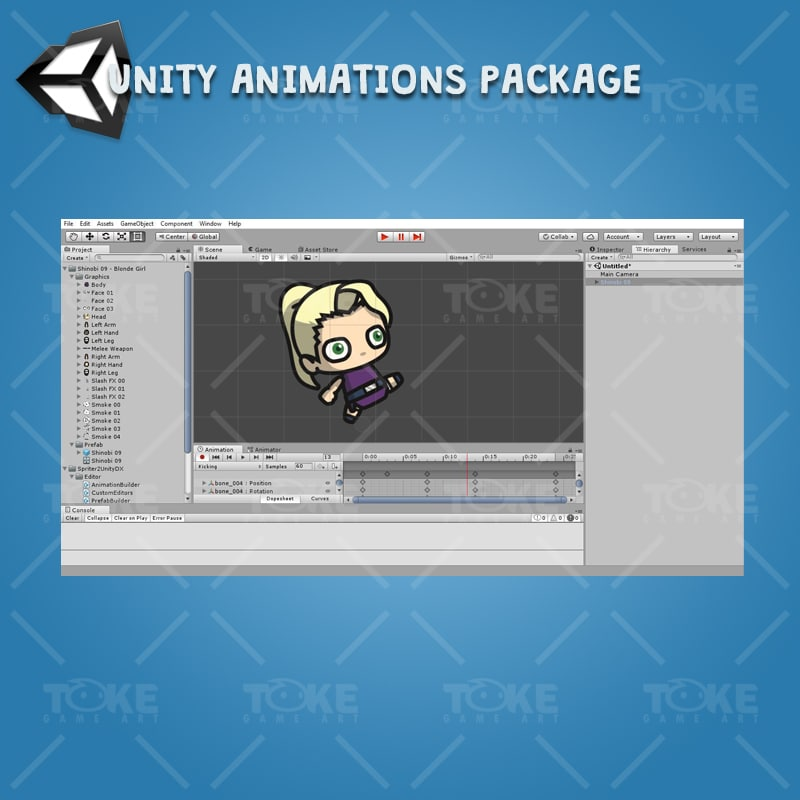 Blonde Shinobi Girl - Unity Animation Ready