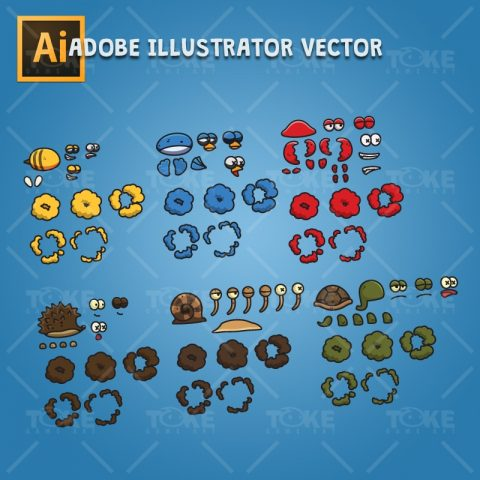 Cartoon Enemy Pack 02 - Adobe Illustrator Vector Art Based