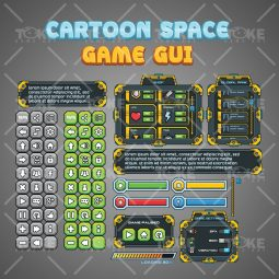Cartoon Sci-fi Game GUI - Window and Button