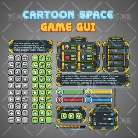 Cartoon Sci-fi Game GUI - Window and Button