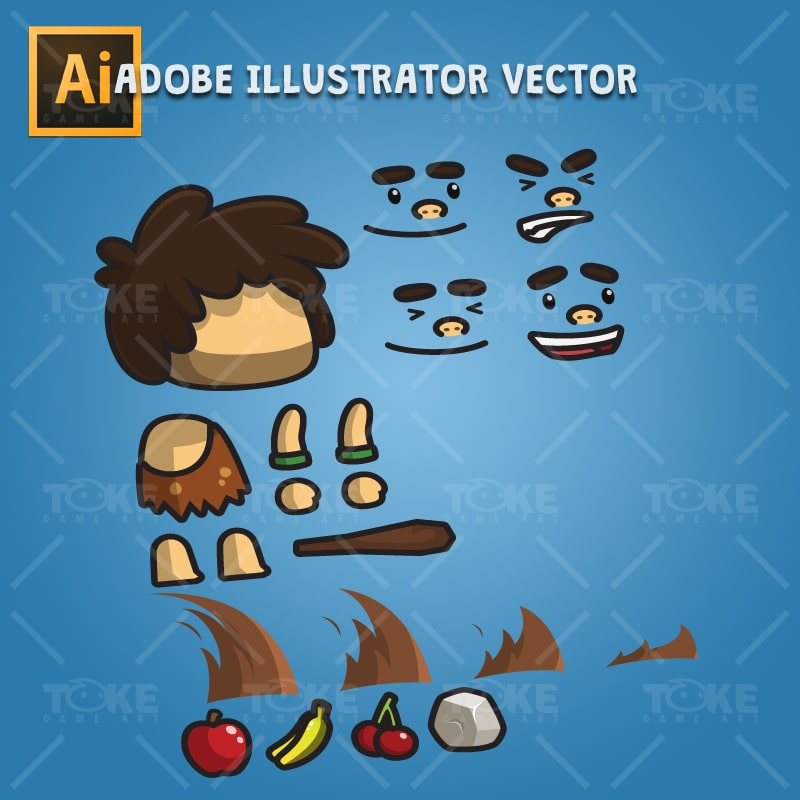 Tiny Caveman - Adobe Illustrator Vector Art Based