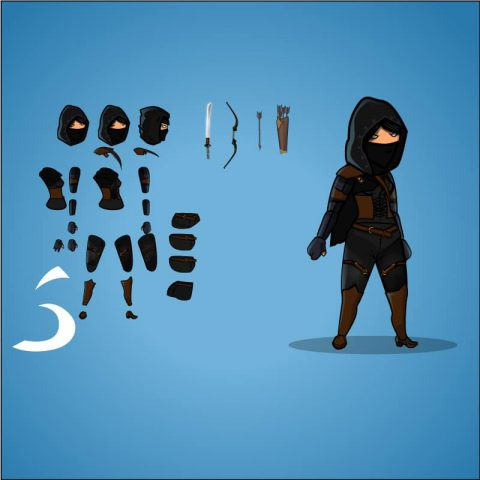 Female Dark Thief Game Character Sprite - Great for your 2d side scrolling games. Royalty free game asset for indie game developer. TokeGameArt