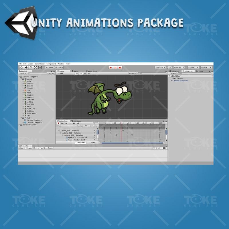 Cartoon Dragon - Unity Animations Ready