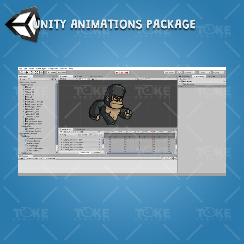 Cartoon Gorilla - Unity Character Animation Ready