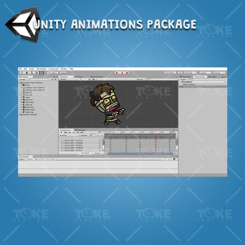 Cartoon Hairy Mummy - Unity Character Animation Ready