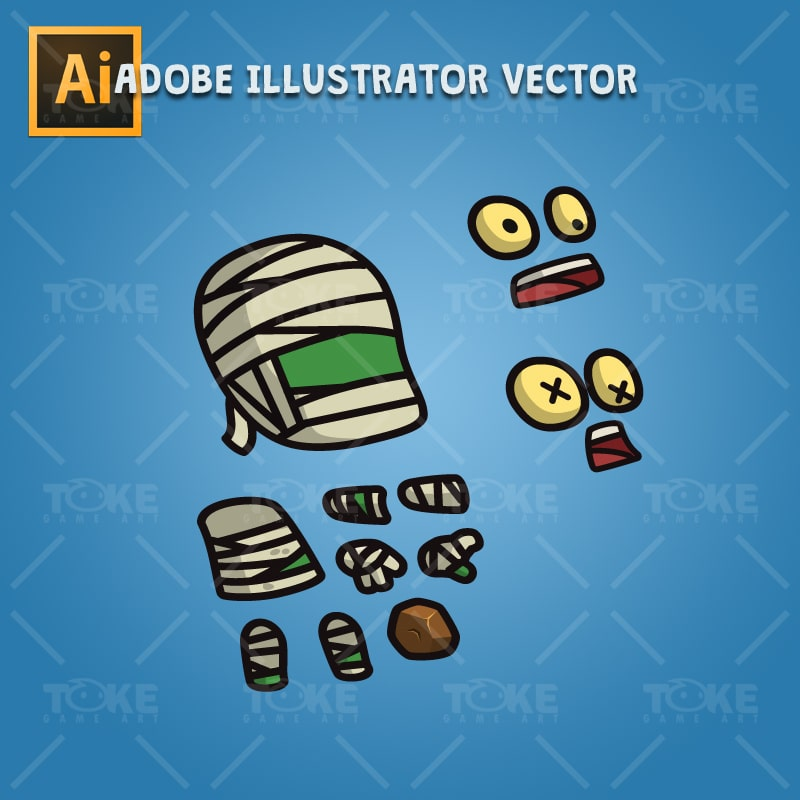 Cartoon Mummy - Adobe Illustrator Vector Art Based