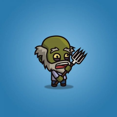 Cartoon Old Farmer Zombie