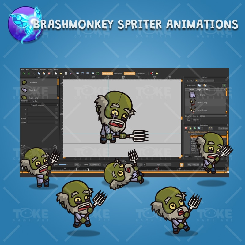 Cartoon Old Farmer Zombie - Brashmonkey Spriter Animation