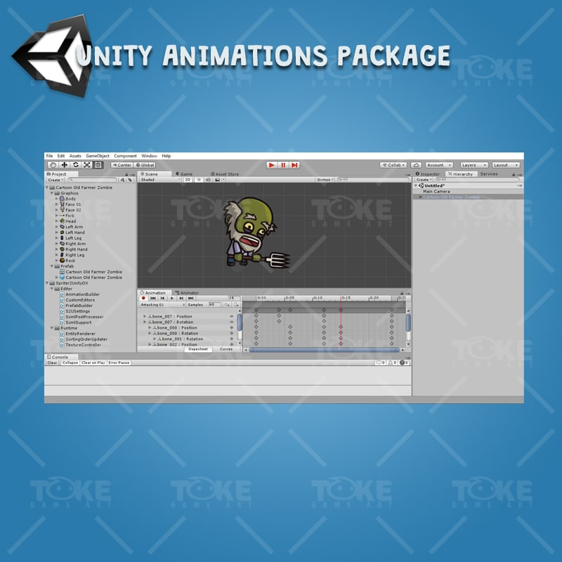 Cartoon Old Farmer Zombie - Unity Animation Ready