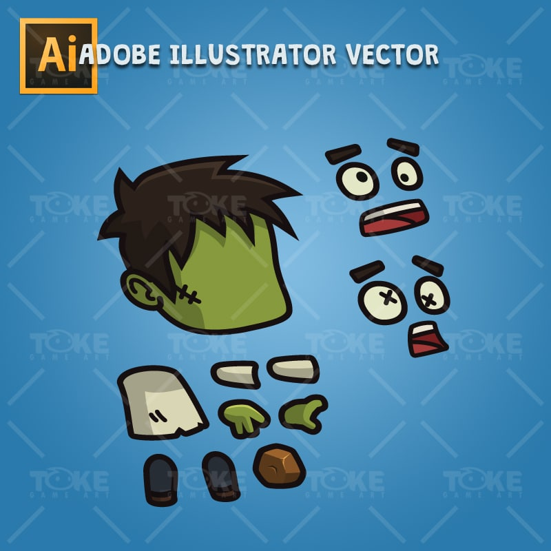 Cartoon Villager Zombie - Adobe Illustrator Vector Art Based