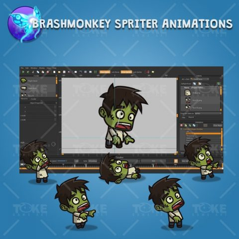 Cartoon Villager Zombie - Brashmonkey Spriter Animation