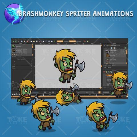 Cartoon Woodcutter Zombie - Brashmonkey Spriter Animation
