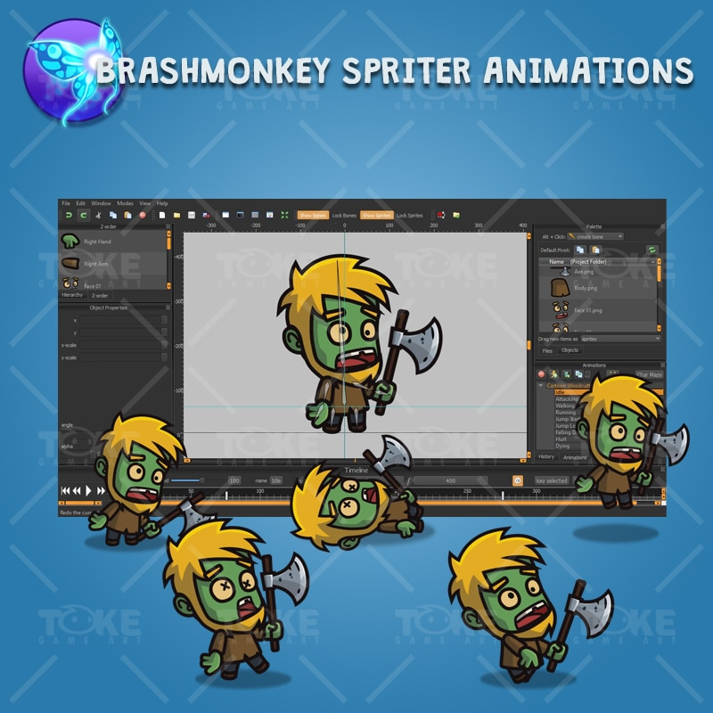 Cartoon Woodcutter Zombie - Brashmonkey Spriter Animation