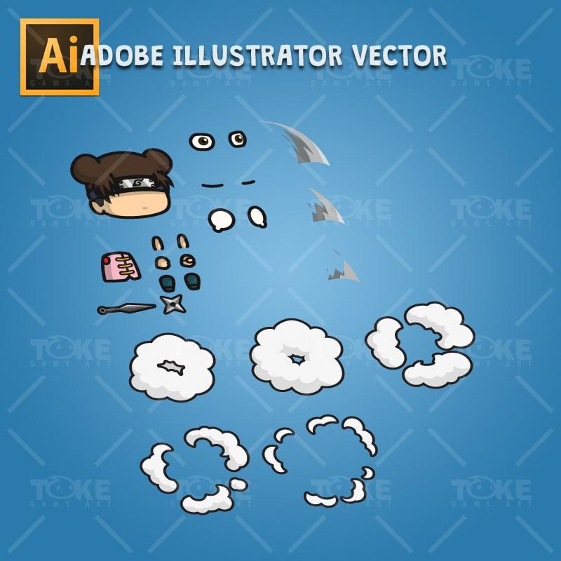 Cute Shinobi Girl - Adobe Illustrator Vector Art Based
