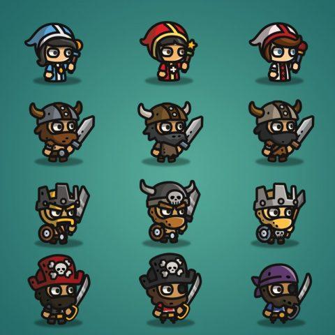 Super Tiny Bundle - 2D Character Sprite - Priest - Viking - Barbarian - Pirate