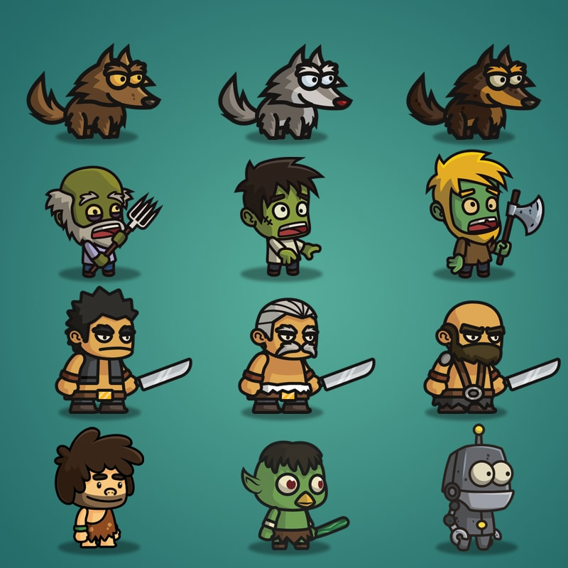 Super Tiny Bundle - 2D Character Sprite - Wolf - Zombie - Giant - Caveman - Kappa - Robot