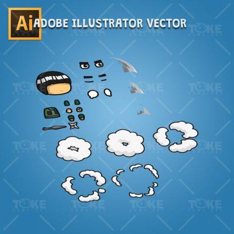 Taijutsu Master Shinobi - Adobe Illustrator Vector Art Based