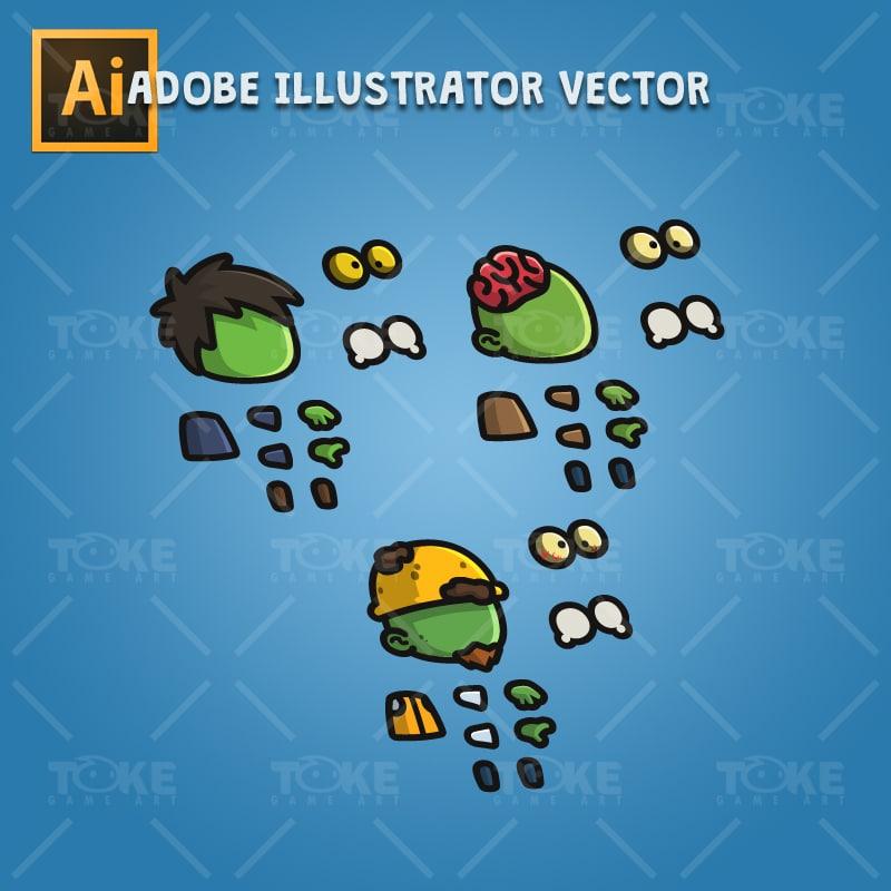 Tiny Zombies - Adobe Illustrator Vector Art Based
