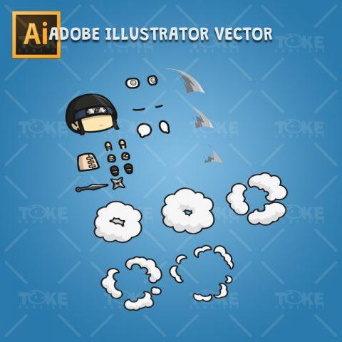 White Pupil Shinobi Guy - Adobe Illustrator Vector Art Based