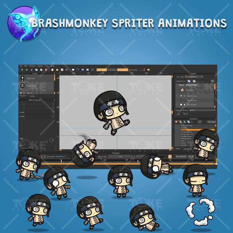 White Pupil Shinobi Guy - Brashmonkey Spriter Character Animation
