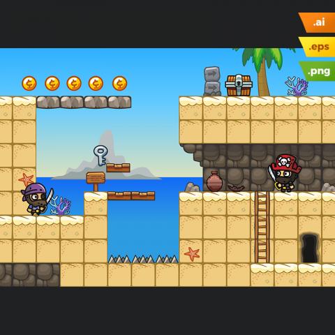 Beach Area Platformer Tileset - 2D Game Level Set