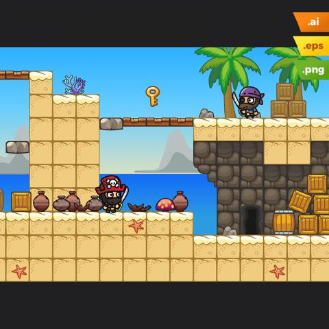Beach Area Platformer Tileset - 2D Side Scrolling Game Level Set