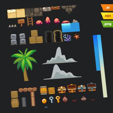 Beach Area Platformer Tileset - Adobe Illustrator Vector Art Based Level Set