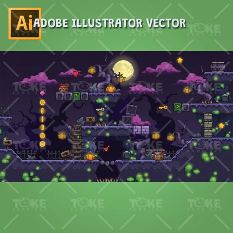 Cartoon Spooky Level Set - 2D Side Scrolling Horror Games