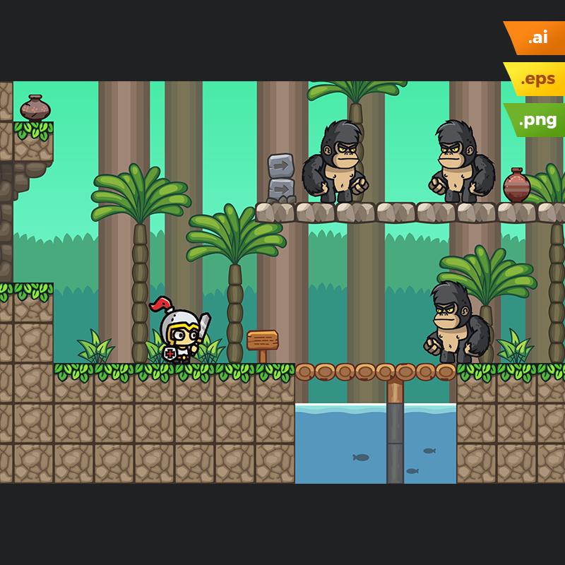 Forest Platformer Tileset - 2D Endless Run Games