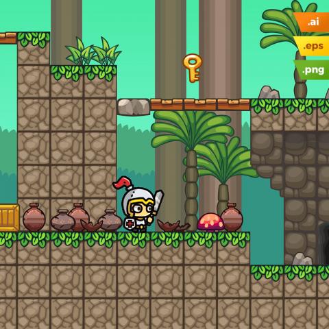 Forest Platformer Tileset - 2D Side Scrolling Game Level Set