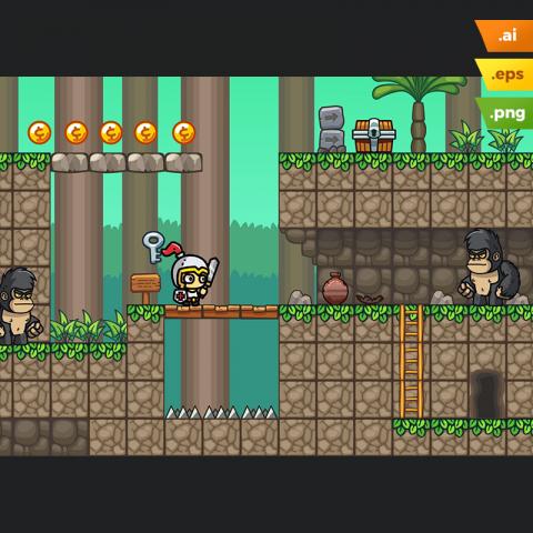 Forest Platformer Tileset - Game Level Set for Indie Game Developer