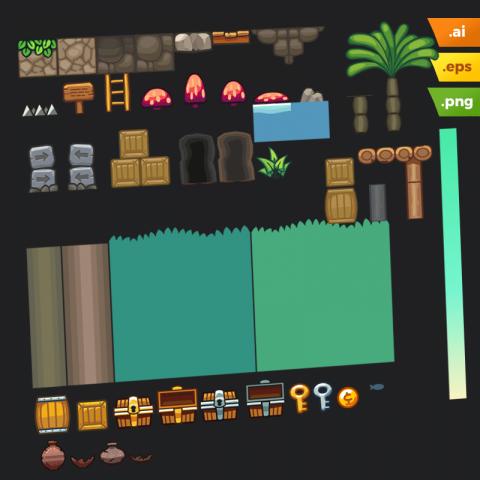 Forest Platformer Tileset - Vector Art Based Game Tileset