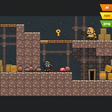 Mine Platformer Tileset - 2D Game Art